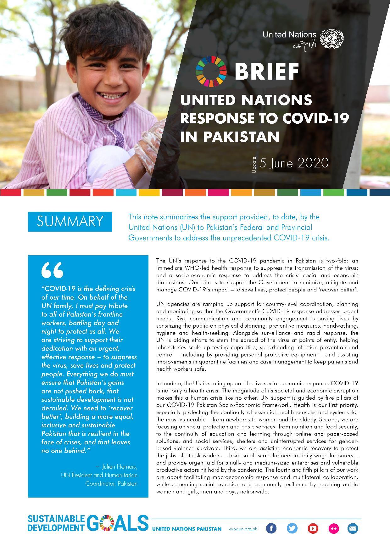 Brief: UN Reponse to COVID-19 in Pakistan