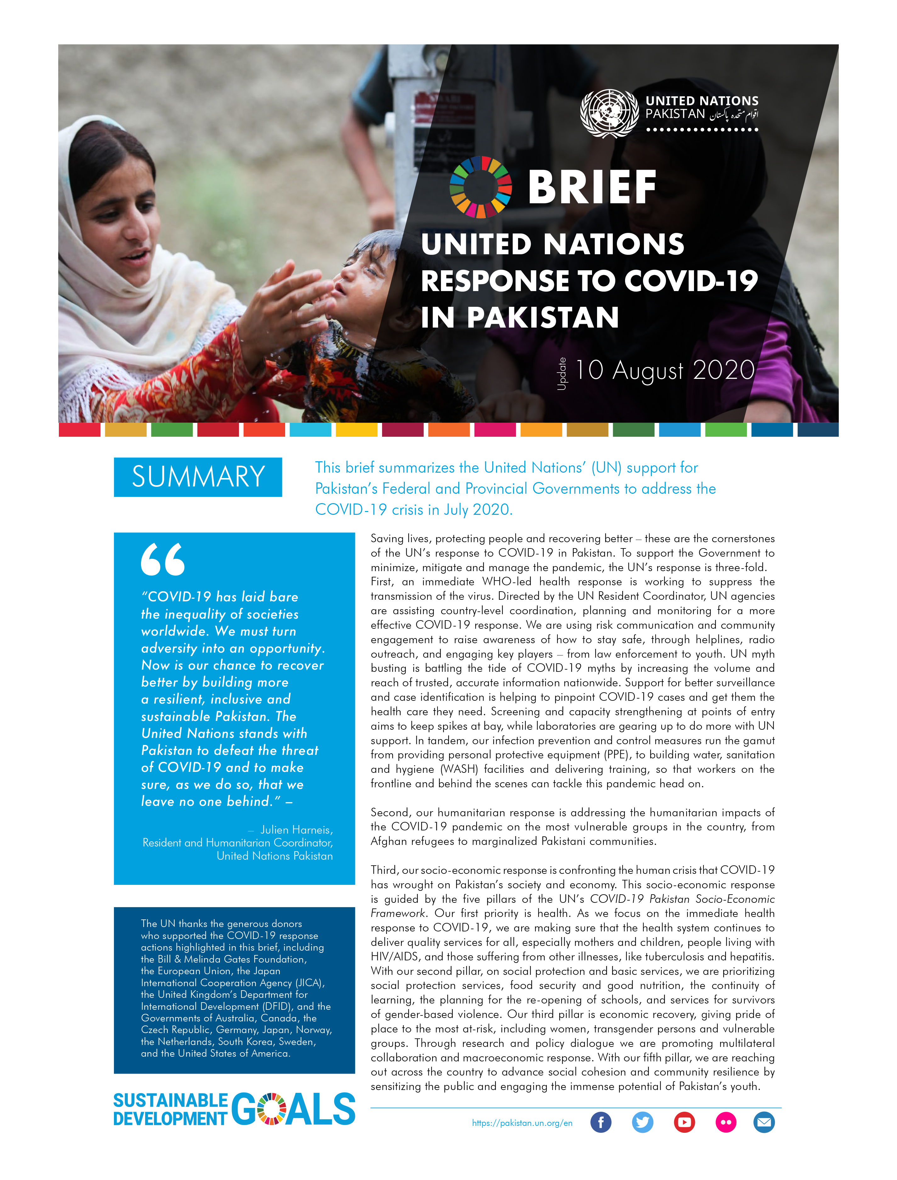 Brief: United Nations response to Covid-19 in Pakistan, August 2020