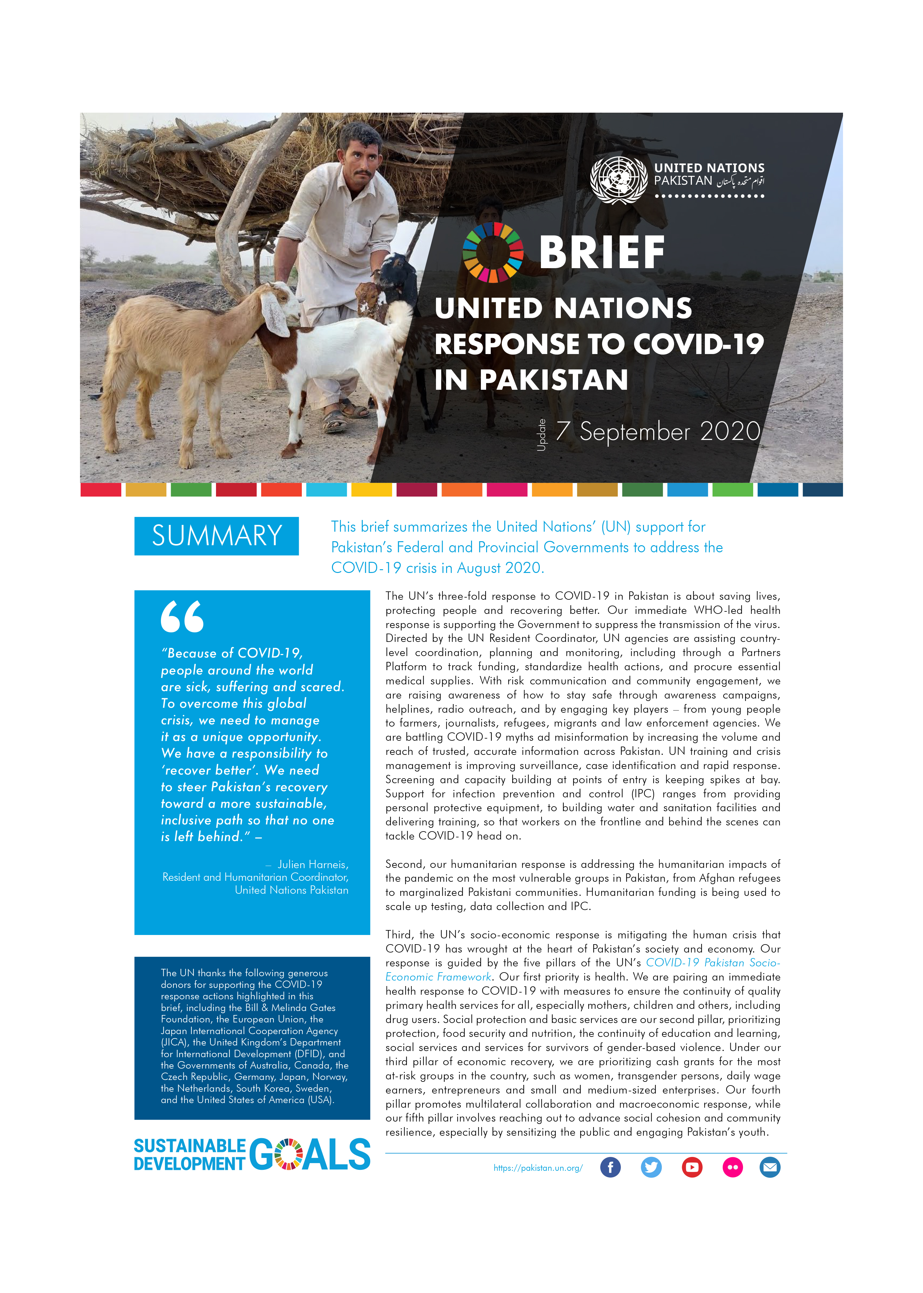 Brief: United Nations response to Covid-19 in Pakistan, September 2020