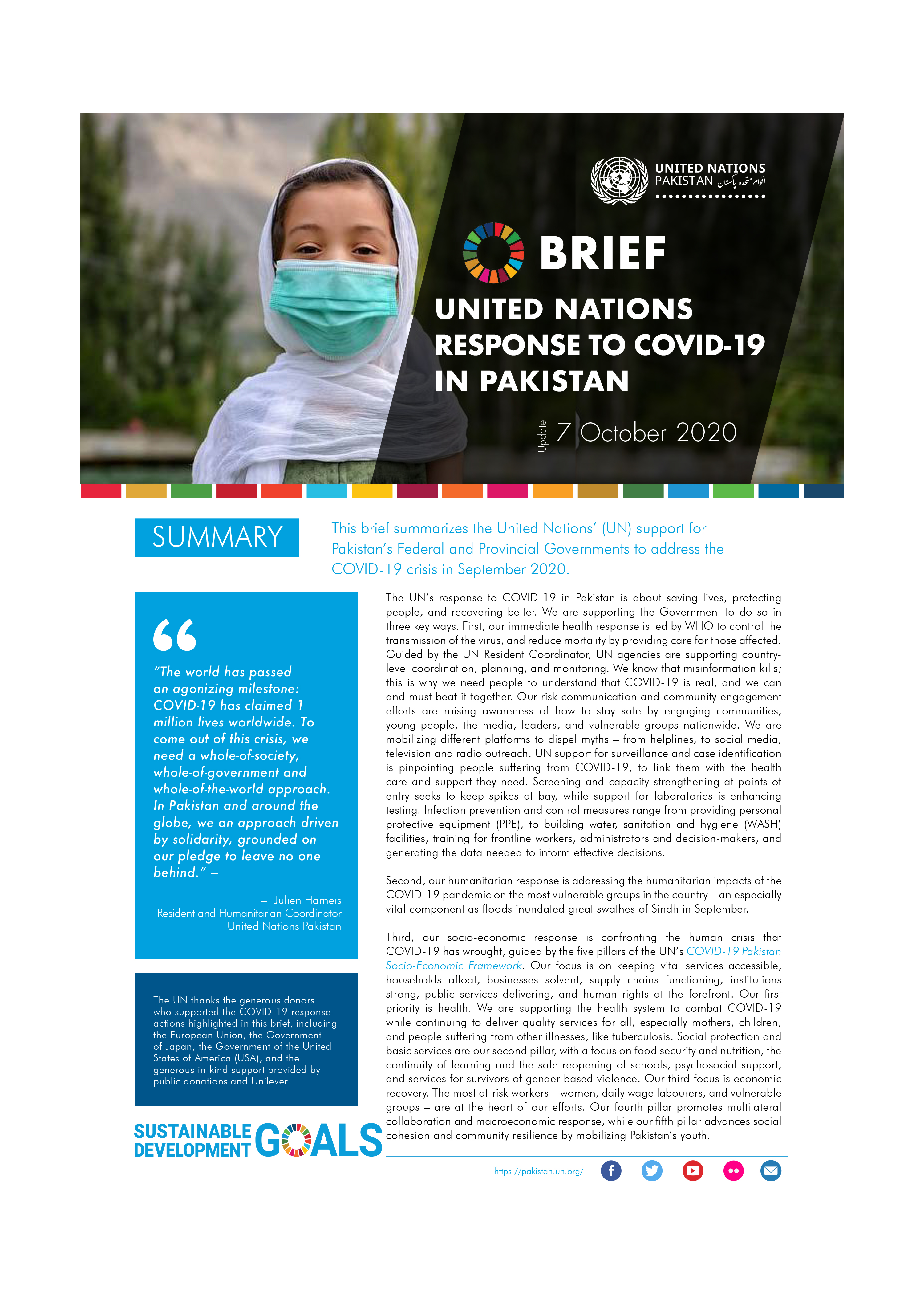 Brief: United Nations response to Covid-19 in Pakistan, October 2020